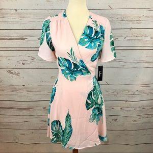 NWT Lulu's Tropical Banana Leaf Palm Wrap Dress